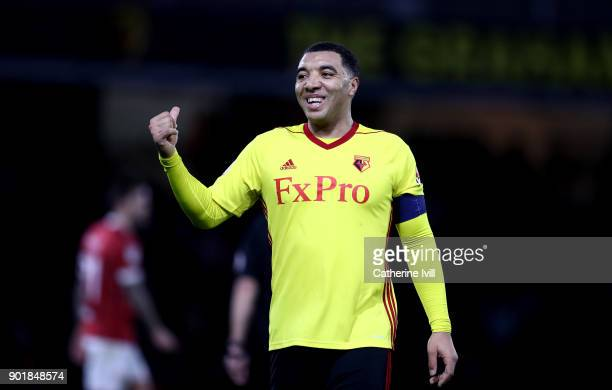 Troy Deeney of Watford celebrates scoring his sides second goal during The Emirates FA Cup Third Round match between Watford and Bristol City at...