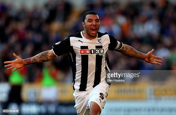 Troy Deeney of Watford celebrates scoring his team's second goal of the game during the Sky Bet Championship match between Wolverhampton Wanderers...