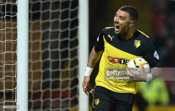 Troy Deeney of Watford celebrates scoring his team's second goal during the Sky Bet Championship match between Watford and Blackburn Rovers at...