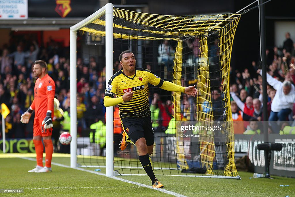 Troy Deeney of Watford celebrates scoring his team's second goal during the Barclays Premier League match between Watford and Aston Villa at Vicarage Road on April 30, 2016 in Watford, England.