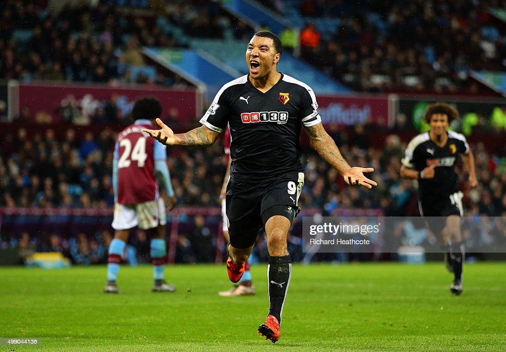 Troy Deeney of Watford celebrates scoring his team's third goal during the Barclays Premier League match between Aston Villa and Watford at Villa Park on November 28, 2015 in Birmingham, England.