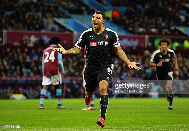 Troy Deeney of Watford celebrates scoring his team's third goal during the Barclays Premier League match between Aston Villa and Watford at Villa...