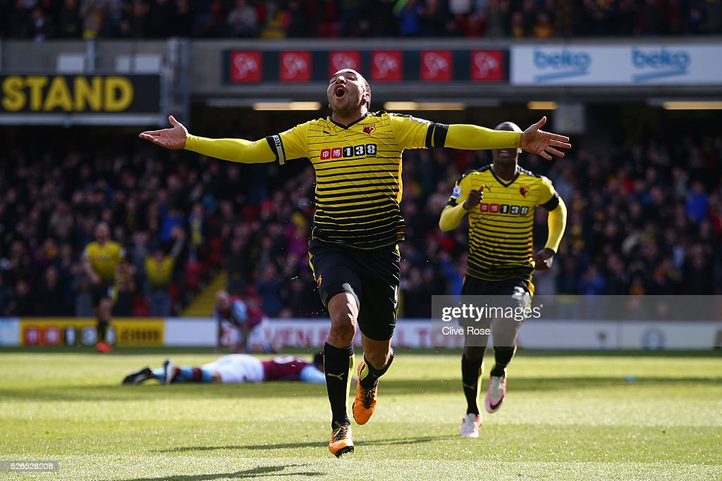 Troy Deeney of Watford celebrates scoring his team's third goal during the Barclays Premier League match between Watford and Aston Villa at Vicarage Road on April 30, 2016 in Watford, England.