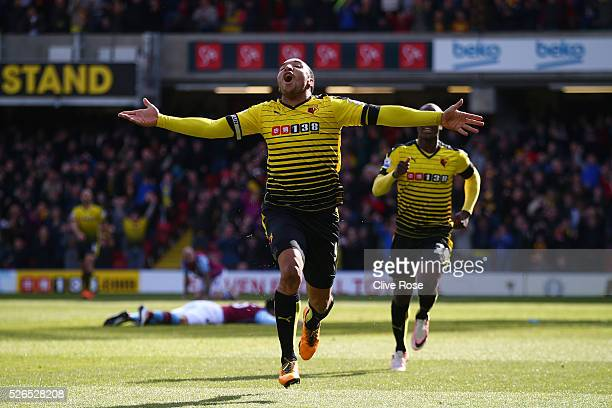 Troy Deeney of Watford celebrates scoring his team's third goal during the Barclays Premier League match between Watford and Aston Villa at Vicarage...