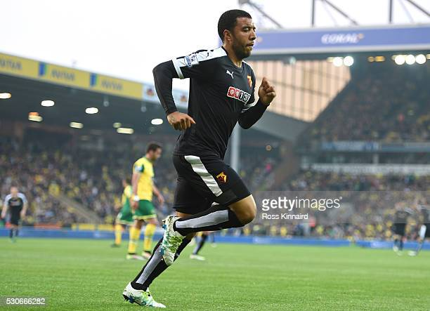 Troy Deeney of Watford celebrates scoring the opening goal during the Barclays Premier League match between Norwich City and Watford at Carrow Road...
