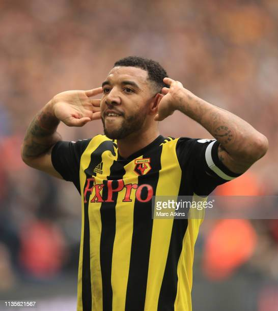 Troy Deeney of Watford celebrates scoring their 2nd goal during the FA Cup Semi Final match between Watford and Wolverhampton Wanderers at Wembley...