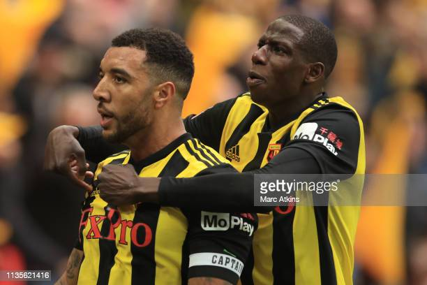 Troy Deeney of Watford celebrates scoring their 2nd goal with Abdoulaye Doucoure during the FA Cup Semi Final match between Watford and Wolverhampton...