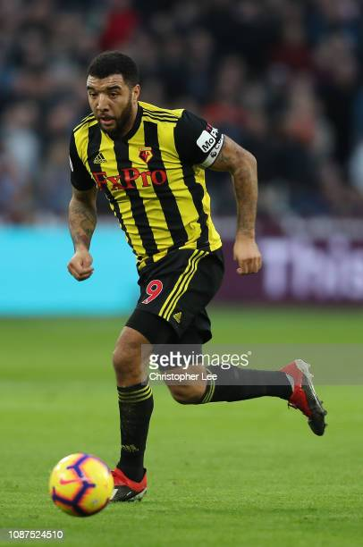Troy Deeney of Watford controls the ball during the Premier League match between West Ham United and Watford FC at London Stadium on December 22 2018...