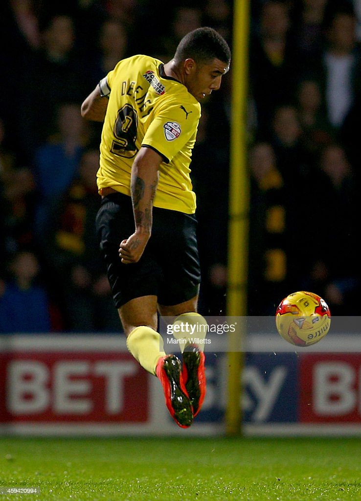 Troy Deeney of Watford controls the ball during the Sky Bet Championship match between Watford and Derby County at Vicarage Road on November 22, 2014 in Watford, England.