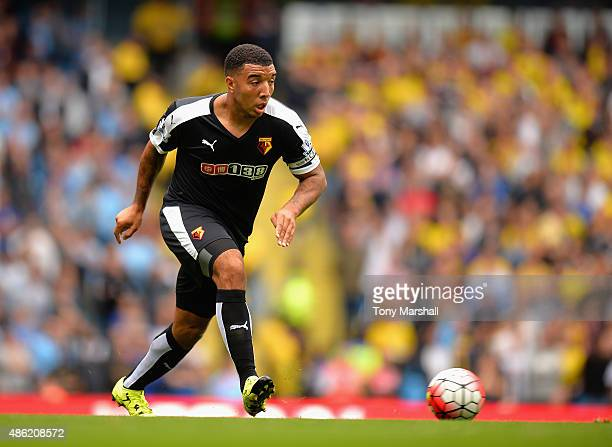 Troy Deeney of Watford during the Barclays Premier League match between Manchester City and Watford at the Etihad Stadium on August 29 2015 in...