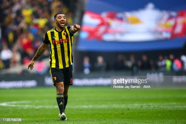 Troy Deeney of Watford during the FA Cup Semi Final match between Watford and Wolverhampton Wanderers at Wembley Stadium on April 7 2019 in London...