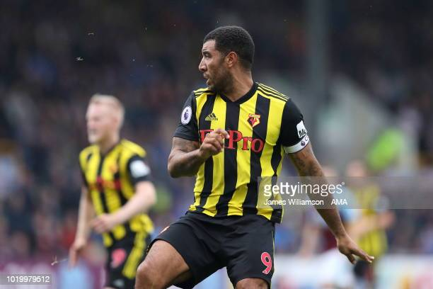 Troy Deeney of Watford during the Premier League match between Burnley FC and Watford FC at Turf Moor on August 19 2018 in Burnley United Kingdom