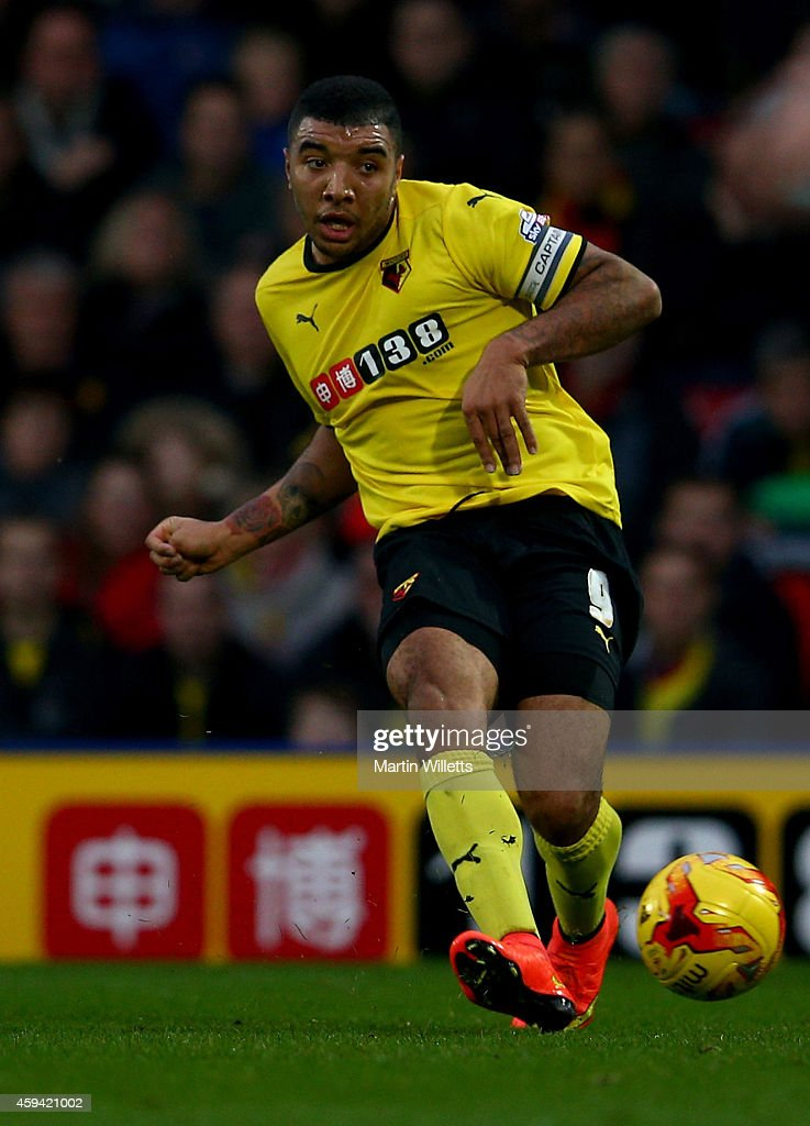 Troy Deeney of Watford during the Sky Bet Championship match between Watford and Derby County at Vicarage Road on November 22, 2014 in Watford, England.