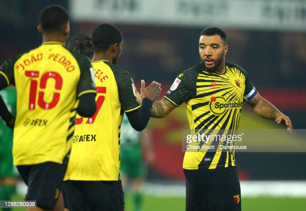Troy Deeney of Watford FC celebrates scoring his teams second goal which was a penalty during the Sky Bet Championship match between Watford and...