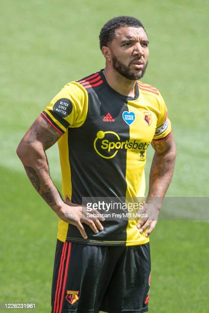 Troy Deeney of Watford FC looks on during the Premier League match between Watford FC and Newcastle United at Vicarage Road on July 11 2020 in...