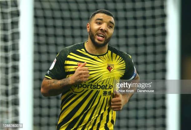 Troy Deeney of Watford FC scores a penalty for his team during the Sky Bet Championship match between Watford and Preston North End at Vicarage Road...