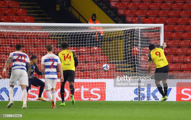 Troy Deeney of Watford FC scores their team's first goal from the penalty spot during the Sky Bet Championship match between Watford and Queens Park...