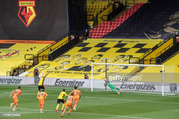Troy Deeney of Watford FC scoring 2nd goal during the Premier League match between Watford FC and Newcastle United at Vicarage Road on July 11 2020...