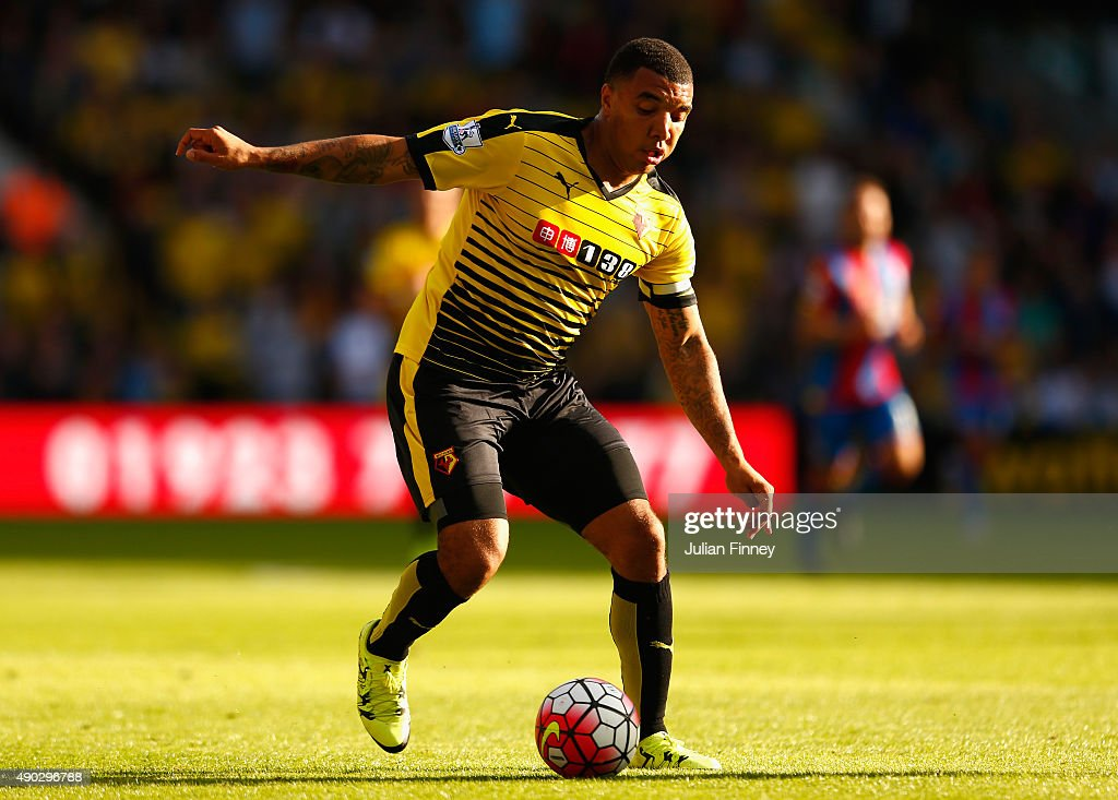 Troy Deeney of Watford in action during the Barclays Premier League match between Watford and Crystal Palace at Vicarage Road on September 27, 2015 in Watford, United Kingdom.