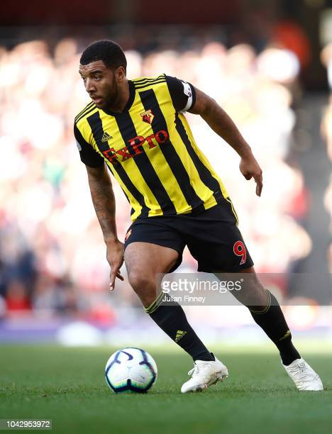 Troy Deeney of Watford in action during the Premier League match between Arsenal FC and Watford FC at Emirates Stadium on September 29 2018 in London...