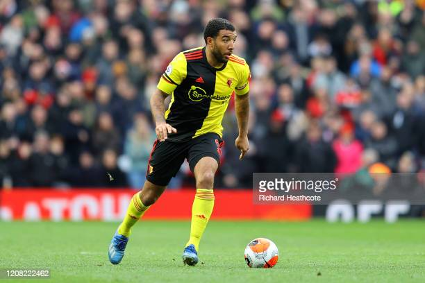 Troy Deeney of Watford in action during the Premier League match between Manchester United and Watford FC at Old Trafford on February 23, 2020 in...