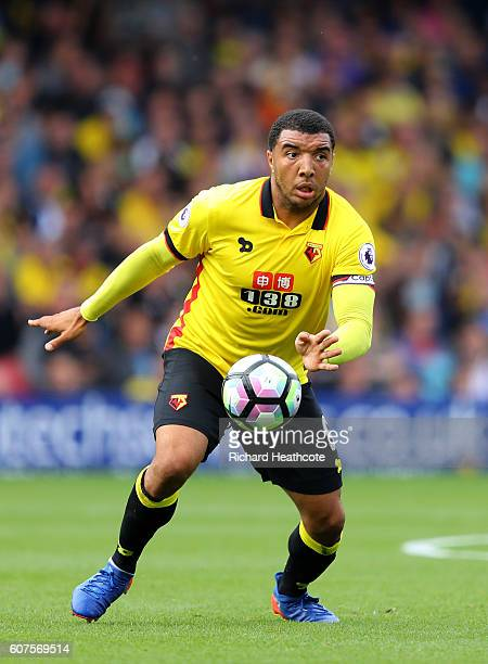Troy Deeney of Watford in action during the Premier League match between Watford and Manchester United at Vicarage Road on September 18 2016 in...