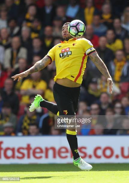 Troy Deeney of watford in action during the Premier League match between Watford and Swansea City at Vicarage Road on April 15 2017 in Watford England