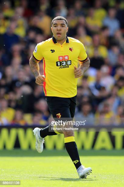 Troy Deeney of Watford in action during the Premier League match between Watford and Manchester City at Vicarage Road on May 21 2017 in Watford...