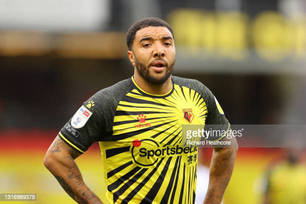 Troy Deeney of Watford in action during the Sky Bet Championship match between Watford and Swansea City at Vicarage Road on May 08, 2021 in Watford,...