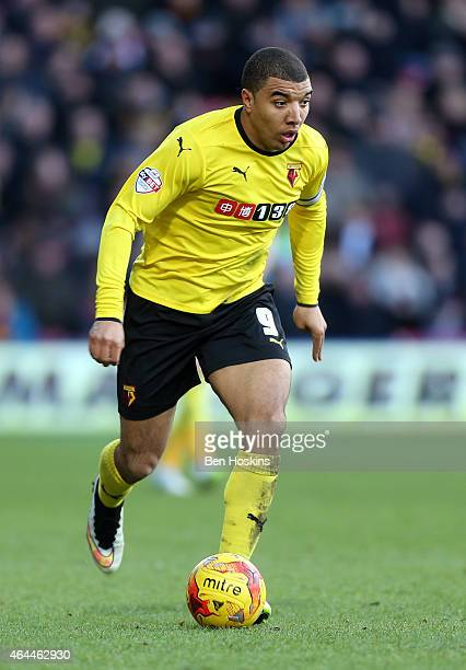 Troy Deeney of Watford in action during the Sky Bet Championship match between Watford and Norwich City at Vicarage Road on February 21 2015 in...