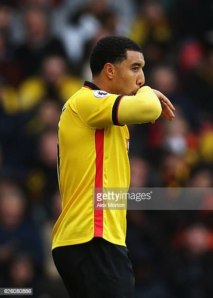 Troy Deeney of Watford is dejected after the final whistle during the Premier League match between Watford and Stoke City at Vicarage Road on...