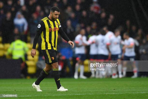 Troy Deeney of Watford looks dejected as Watford concede a third goal during the Premier League match between Watford FC and AFC Bournemouth at...