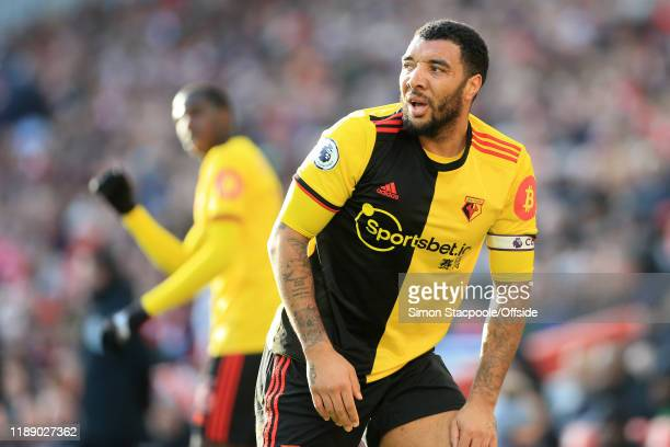 Troy Deeney of Watford looks dejected during the Premier League match between Liverpool FC and Watford FC at Anfield on December 14 2019 in Liverpool...