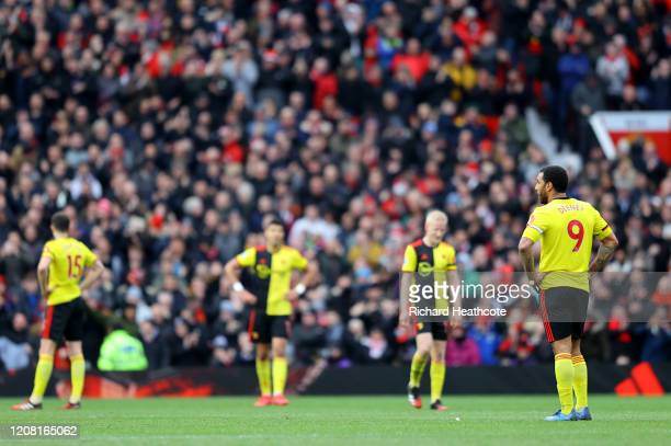Troy Deeney of Watford looks dejected during the Premier League match between Manchester United and Watford FC at Old Trafford on February 23, 2020...