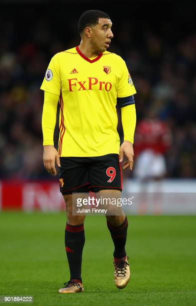 Troy Deeney of Watford looks on during The Emirates FA Cup Third Round match between Watford and Bristol City at Vicarage Road on January 6 2018 in...