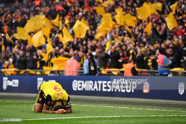 Troy Deeney of Watford reacts as he celebrates victory after the FA Cup Semi Final match between Watford and Wolverhampton Wanderers at Wembley...