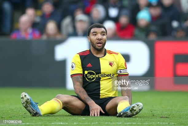 Troy Deeney of Watford reacts during the Premier League match between Crystal Palace and Watford FC at Selhurst Park on March 07, 2020 in London,...