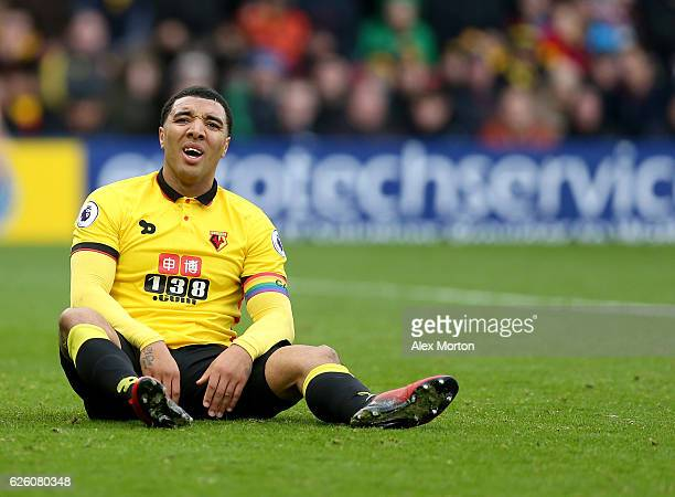 Troy Deeney of Watford reacts during the Premier League match between Watford and Stoke City at Vicarage Road on November 27 2016 in Watford England