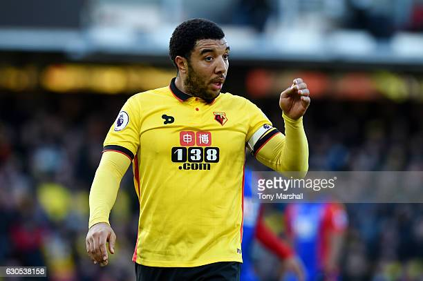Troy Deeney of Watford reacts during the Premier League match between Watford and Crystal Palace at Vicarage Road on December 26 2016 in Watford...