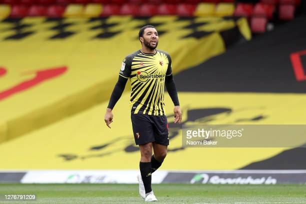 Troy Deeney of Watford reacts during the Sky Bet Championship match between Watford and Luton Town at Vicarage Road on September 26 2020 in Watford...