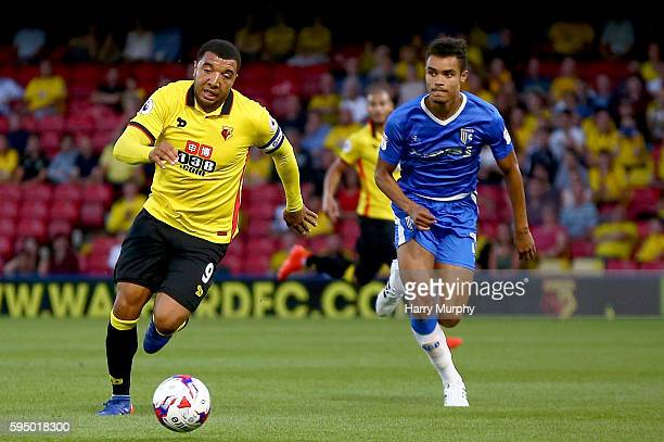 Troy Deeney of Watford runs for the ball during the EFL Cup match between Watford and Gillingham at Vicarage Road on August 23 2016 in Watford England