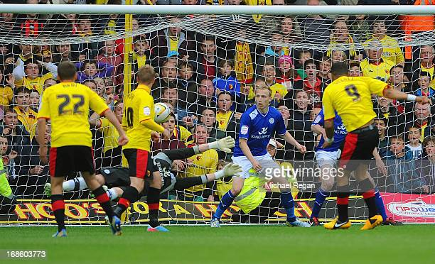 Troy Deeney of Watford score the winning goal during the npower Championship Play Off Semi Final: Second Leg between Watford and Leicester City at...