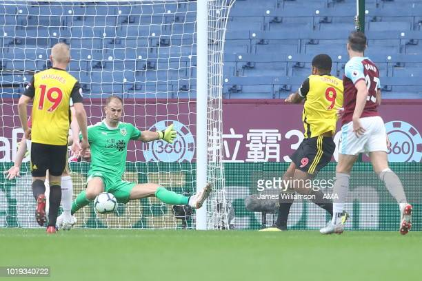 Troy Deeney of Watford scores a goal to make it 21 during the Premier League match between Burnley FC and Watford FC at Turf Moor on August 19 2018...