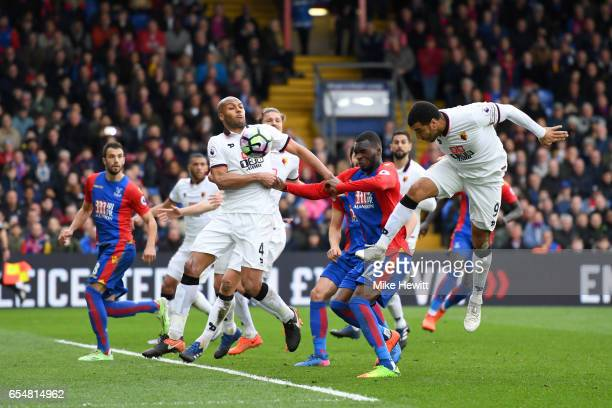 Troy Deeney of Watford scores a own goal for for Crystal Palace first goal during the Premier League match between Crystal Palace and Watford at...