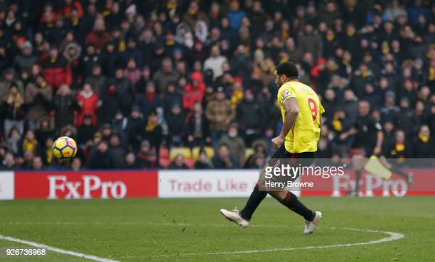 Troy Deeney of Watford scores a penalty for his sides first goal during the Premier League match between Watford and West Bromwich Albion at Vicarage...