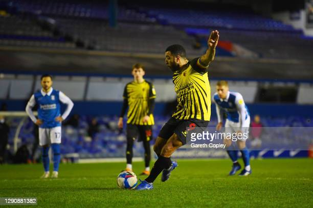Troy Deeney of Watford scores a penalty for his team's first goal during the Sky Bet Championship match between Birmingham City and Watford at St...