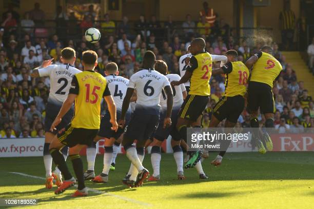 Troy Deeney of Watford scores during the Premier League match between Watford FC and Tottenham Hotspur at Vicarage Road on September 2 2018 in...