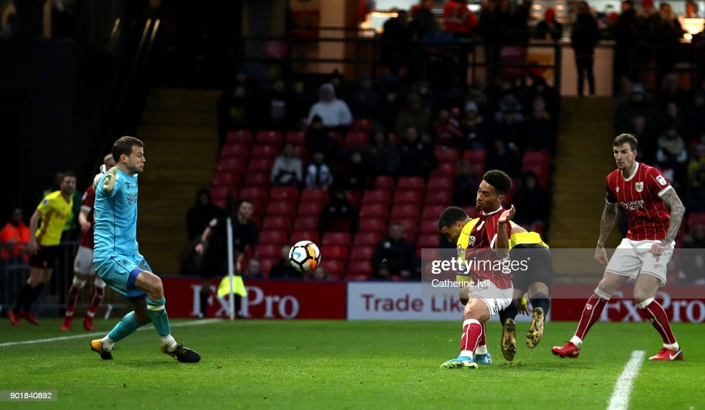 Troy Deeney of Watford scores his sides second goal during The Emirates FA Cup Third Round match between Watford and Bristol City at Vicarage Road on January 6, 2018 in Watford, England.