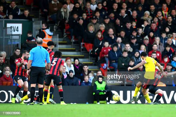 Troy Deeney of Watford scores his sides second goal during the Premier League match between AFC Bournemouth and Watford FC at Vitality Stadium on...