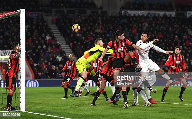 Troy Deeney of Watford scores his sides second goal with a header during the Premier League match between AFC Bournemouth and Watford at Vitality...